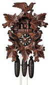 24in Large Cuckoo Clock! Leaves & Bird German Black Forest Cuckoo Clock 8 Day Musical Trad - NYC1197