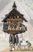 23n Moving wood sawyers German Black Forest Cuckoo Clock 8 Day Musical - NYC1026