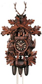 25in Hunter Style & Animals German Black Forest Cuckoo Clock 8 Day Traditional Musical - NYC1095