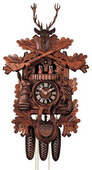 Authentic German Neustadt 25in Deer & Hunting Style& Animals 8 Day Musical Black Forest Cuckoo Clock