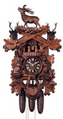25in Deer & Hunting Style Rifles & Animals German Black Forest Cuckoo Clock 8 Day - NYC1158