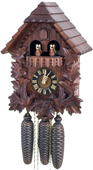 Authentic German Neustadt 19in Leaves & Birds & Nest 8 Day Musical Black Forest Cuckoo Clock