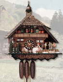 26in Moving Bell Ringer German Black Forest Cuckoo Clock 8 Day Musical Chalet - NYC1038