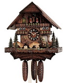 21in Moving hunting scene & Fighting deers German Black Forest Cuckoo Clock 8 Day Music - NYC1059