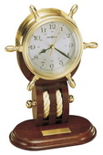 Howard Miller Deluxe Solid Brass Ships Wheel Clock Mahogany Base - CHM1848