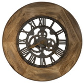 Howard Miller 33in Oversized Gallery Wall Clock Distressed Rustic Wood Frame - CHM1810