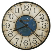 30.75in Howard Miller Oversized Metal Wall Clock in Aged Worn Black Worn Blue Center - CHM3010