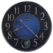 26.25in Howard Miller Quartz Gallery Pendulum Wall Clock Antiqued Cobalt Blue & Black Dial Framed -