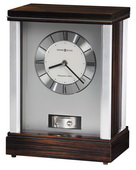 Howard Miller Deluxe Silver-Tone Ebony Finish Mantel Clock - CHM2164
