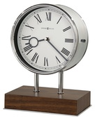 Howard Miller Deluxe Triple-Chime Mantel Clock Chrome Metal Walnut Wooden Base