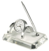 Howard Miller Deluxe Stylish Clock and Pen Set with Optical Glass Crystal Base - CHM2346