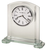 Howard Miller Arched Glass Table Clock Glass Panels Tiered Base Luminous Hands - CHM4034