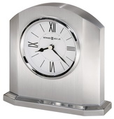 Howard Miller Handsome Silver-Finished Arched Alarm Clock Solid Aluminum Case - CHM4036