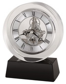 Howard Miller CHM4046 Deluxe Striking Optical Crystal Table Clock With A Black Crystal Base