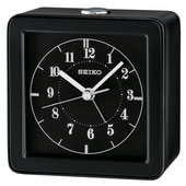 Seiko Black Case Flashing LED Quiet Sweep Second Hand Alarm Clock - GSK4088