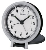 Aqua Pear Aldeburgh Black Metallic Case Folding Stand Alarm Clock by Seiko - GSK4208