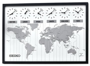 Seiko Deluxe Ashbourne Six-city World Time Wall Clock - GSK4316