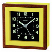 Seiko Verwood Bedside Alarm Clock - Yellow wooden case