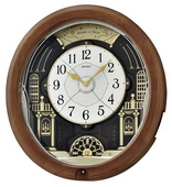 Seiko Leyton Musical Wooden Wall  Clock12 Melodies Including Holiday Melodies - GSK4652