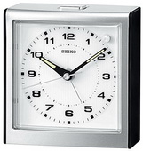 Seiko West Kipler Alarm Clock Silver-tone with Black Accents Quiet Sweep No Ticking Sound - GSK4048