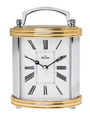 Bulova Tabletop Polished Brass And Chrome Finish Clock - GTB6092