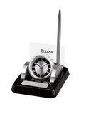 Aqua Pear GTB6322 Deluxe Designer Clock With Pen And Business Card Holder by Bulova