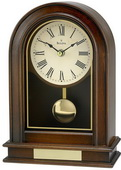 Aqua Pear Solid Wood And Wood Veneer Case With Walnut Finish Tabletop Clock by Bulova - GTB6342