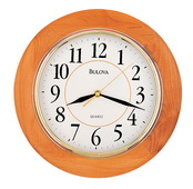 Bulova Solid Wood With A Honey Finish 12in Wall Clock - GTB6628