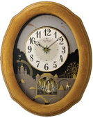 Rhythm 30 Melodies Solid Oak Musical Wall Clock Including Holiday Melodies - GTM2236