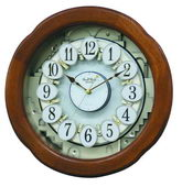 Rhythm Deluxe 30 Melodies Wooden Musical Wall Clock Including Holiday Songs - GTM2522
