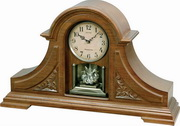 Rhythm Tambour Style Wooden Musical Mantel Clock - GTM2492