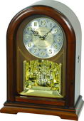 Rhythm Deluxe WSM Wooden Musical Steel Dial Mantel Clock