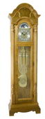 German Hermle Deluxe Triple Chiming Grandfather Clock American Oak Finish - JHE2529