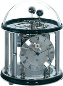 German Hermle Black Forest Chiming Keywound Mantel Clock Tellurium Piano Finish - JHE1452
