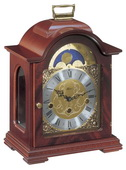German Hermle Deluxe Black Forest Chiming Keywound Mantel Clock Mahogany Finish - JHE1521