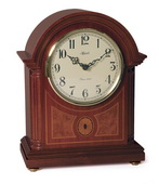 German Hermle Deluxe Mantel Quartz Dual Chime Movement Clock Mahogany Finish - JHE1539