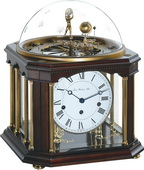 German Hermle Black Forest Chiming Keywound Mantel Clock Tellurium Walnut - JHE1623