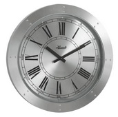 German Hermle Deluxe Silver Aluminum Disk Gallery Wall Clock Quartz - JHE1851
