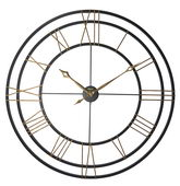 German Hermle Deluxe 49 inch Wrought Iron Frame Quartz Wall Clock