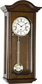 German Hermle Keywound Chiming Wall Clock Antique Walnut Finish - JHE2545