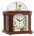 German Hermle Blackburn Black Forest Chiming Keywound Mantel Clock Tellurium Walnut - JHE1623