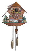 German Hermle Deluxe 23in Cute Deer & Dancers Quartz Chalet Black Forest Cuckoo Clock - JHE1845