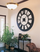 NVC Sunburst 38in Tower Wall Clock Black Floating Dial - NVC6278