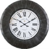 Designer 45in Clock Rustic Black With Aged Blue Accents - LUT1030