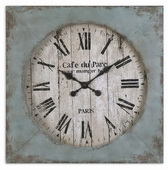 Aqua Pear Clock Distressed Aged Blue Finish W Rust Undertones  - LUT1084