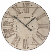 Designer 36in Clock Antiqued Ivory Face Edge Distressing & Dark Chestnut Undertones  - LUT1080