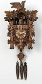 19in Leaves & Bird & Music German Black Forest Cuckoo Clock 1 Day Traditional & Music - NVC6179
