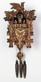 19in Leaves & Bird & Hand Painted Flowers & Music German Black Forest Cuckoo Clock 1 Day - NVC6167