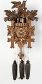21in Leaves & Bird German Black Forest Cuckoo Clock 8 Day Traditional & Music - NVC6122