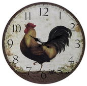 Aqua Pear 13in Rooster Wall Clock by MEK - MEK2034